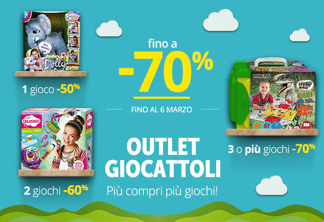 Outlet Giochi 1x50% - 2x60% - 3x70%