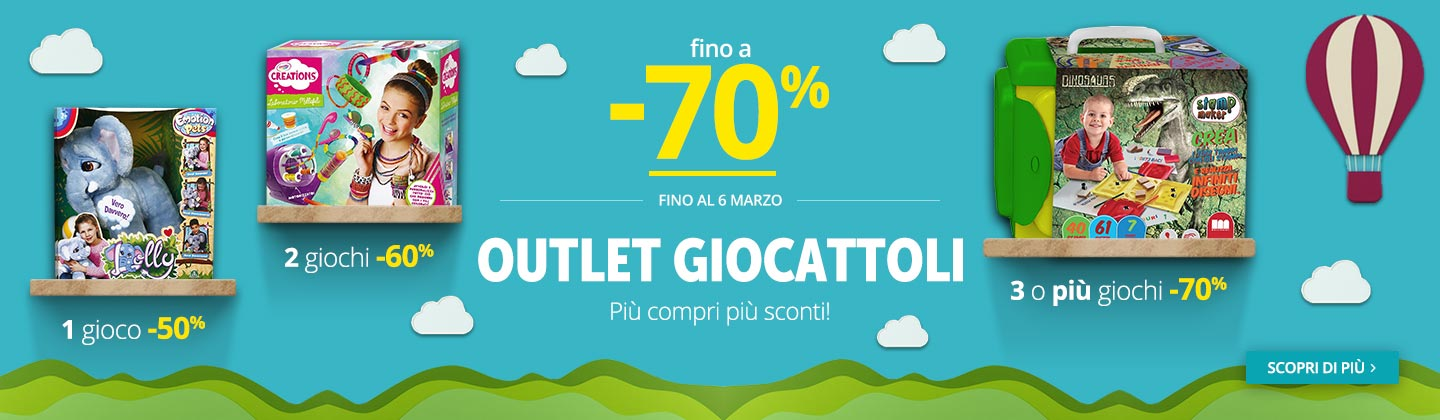 Outlet Giochi 1x50% - 2x60% -3x70%