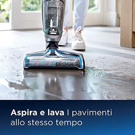 BISSELL CrossWave Cordless, Dispositivo Senza Fili Multisuperficie 3-in-1, Aspira, Lava & Asciuga, Pulisce Pavimenti & Tappeti, Fino a 30 min di Pulizia, 1.44 litri, 2582N - 4