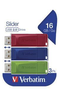 Verbatim Slider - Memoria USB - 3x16 GB, Blu, Rosso, Verde