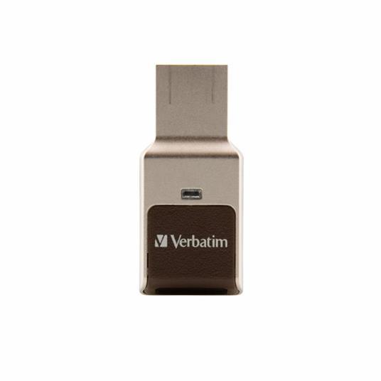 Verbatim FingerPrint Secure - Memoria USB 3.0 con lettore di impronte digitali e crittografia dei dati - 32 GB - Marrone/Argento