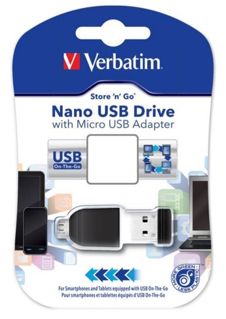 Verbatim Nano - Memoria USB da 32 GB con Adattatore Micro USB - Nero - 2