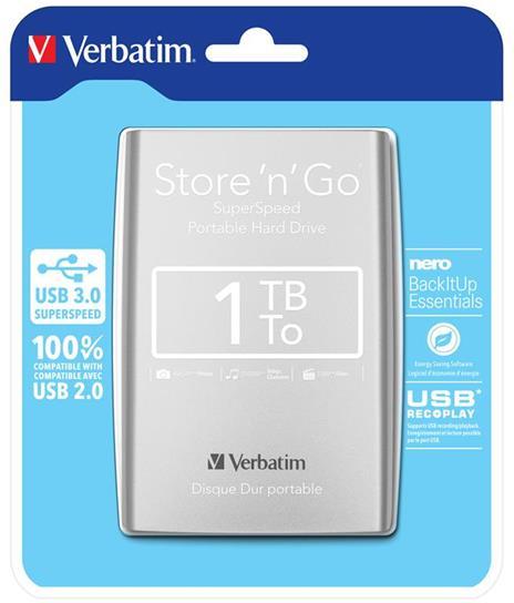 Verbatim Disco rigido portatile Store 'n' Go USB 3.0 da 1 TB Argento