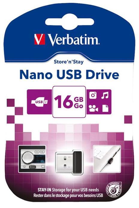 Verbatim Store 'n' Stay NANO - Memoria USB da 16 GB - Nero - 3