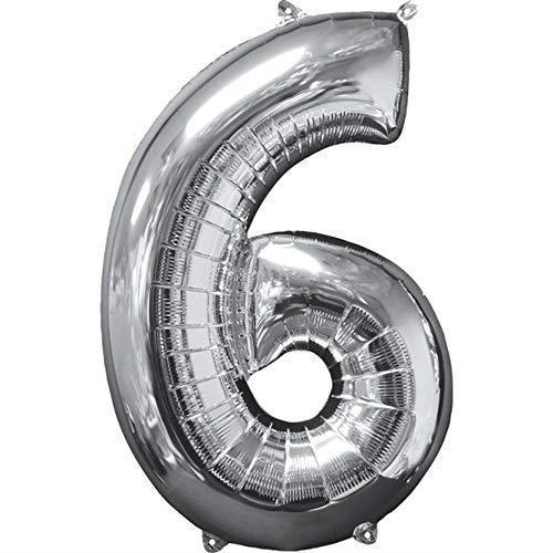 """Anagram- Pallone Foil 26""""""""-66 cm Numero 6 Silver, Argento, 7A3196001"""