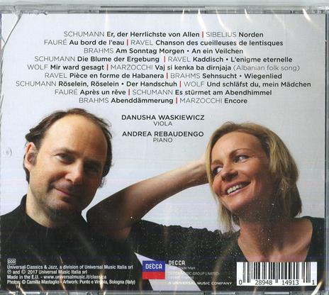 21 Canzoni per viola e pianoforte (Trascrizioni per viola e pianoforte) - CD Audio di Andrea Rebaudengo,Danusha Waskiewicz - 2