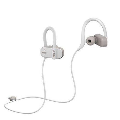 Jam Auricolari Live Fast Workout Bluetooth, IP67 Resistenti al Sudore, Archetti 3 Formati Inclusi, 12 Ore di Durata della Batteria, Vivavoce, Grigio
