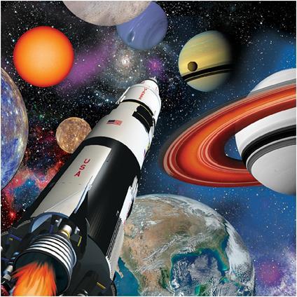 Creative Converting 16Count 3PLY Space Blast Lunch tovaglioli, Multicolore