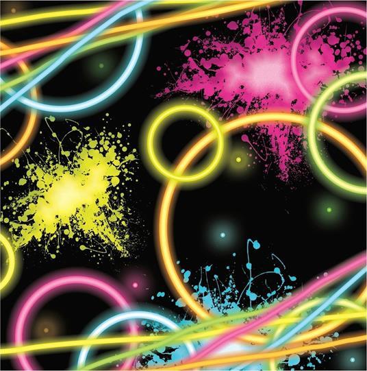 16 Tovaglioli Carta Neon Fluo , Festa Compleanno PS 00080