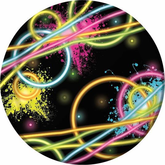 Creative Convertting Piatto 18 cm Glow Party, Carta, Multicolore