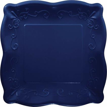 Creative Convertting Piatto quadrato goffrato 25,5 cm Blu Navy, 8C333396