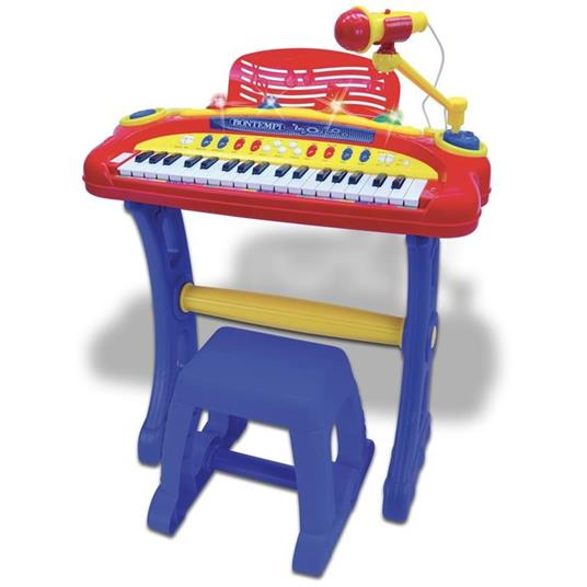 Bontempi Tastiera Elettronica 37 Tasti Pianola con Microfono Gambe Sgabello Luci