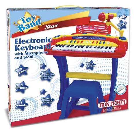 Bontempi Tastiera Elettronica 37 Tasti Pianola con Microfono Gambe Sgabello Luci - 2