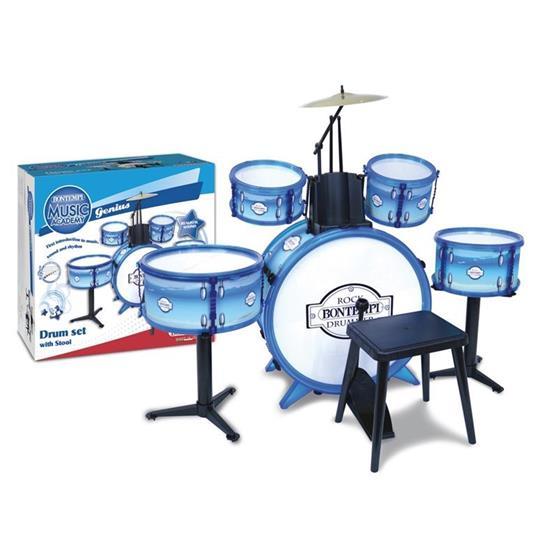Metallic Silver Drum Set 6 Pcs With Stool - 2