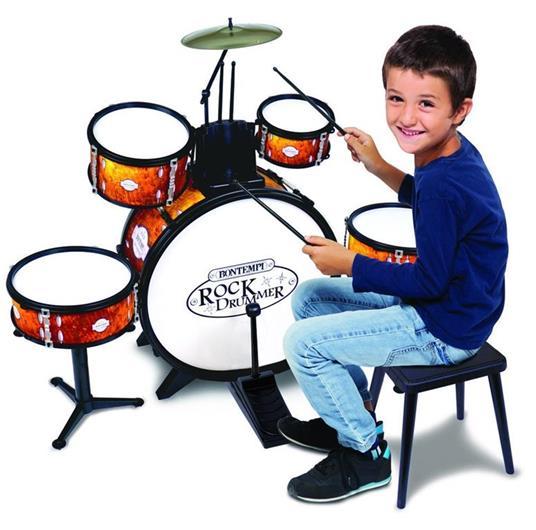 Bontempi Batteria per Bambini Giocattolo Batteria Grancassa 6 Elementi Sgabello - 4