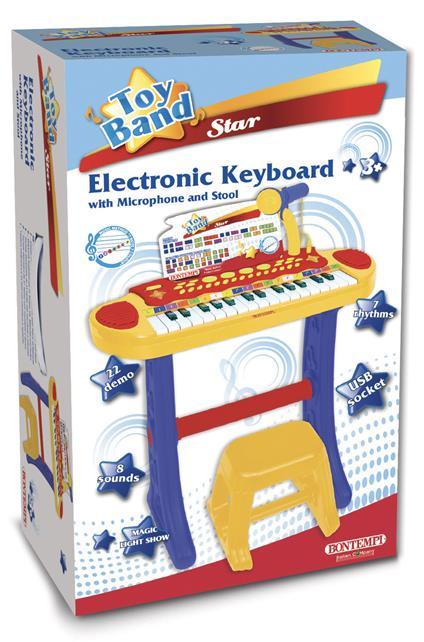 Tastiera Elettronica 31 Tasti con Microfono Gambe e Sgabello 4 Pads per Suonare La Batteria 8 Suoni 7 Ritmi. Bontempi (13 3242)