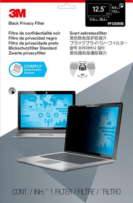 """3M Filtro Privacy per monitor widescreen edge-to-edge da 12,5"""" - 2"""