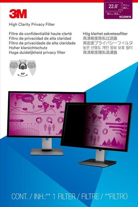 """3M Filtro High Clarity Privacy per monitor widescreen da 22"""" - 2"""