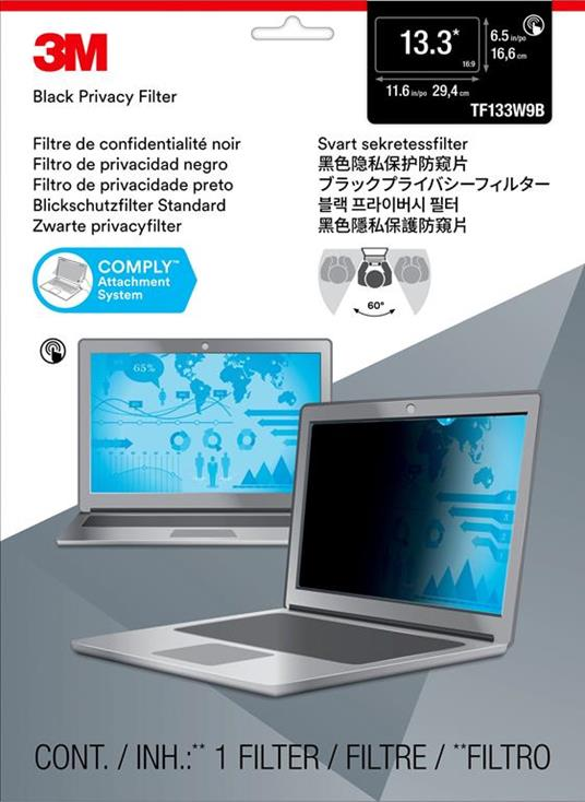 """3M Filtro privacy tocco per laptop a schermo intero da 13,3"""" - Misura standard - 2"""