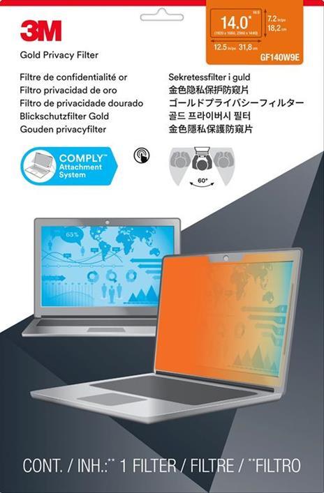 """3M Filtro privacy Gold Touch per laptop a schermo intero da 14,0"""" - 2"""