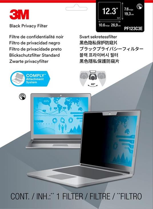 """3M Filtro privacy Touch per laptop a schermo intero 3:2 da 12,3"""" - 2"""