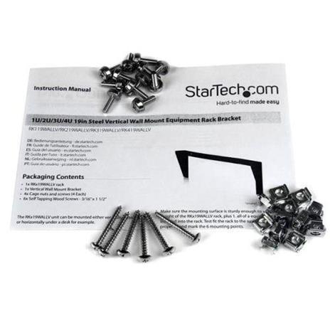 """StarTech.com Staffa rack in acciaio 4U per montaggio apparecchiature su parete verticale da 19"""" - 3"""