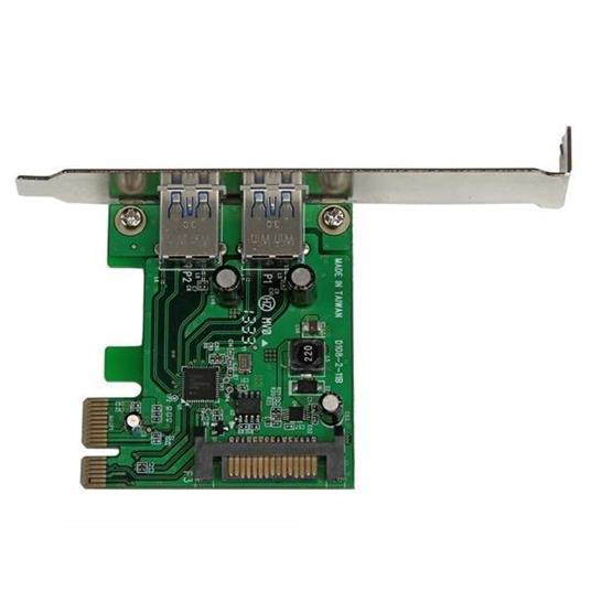 StarTech.com Adattatore scheda SuperSpeed USB 3.0 con 2 porte PCI Express (PCIe) con UASP - Alimentazione SATA - 2