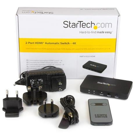 StarTech.com Switch Commutatore automatico a 2 porte HDMI con Case in alluminio e supporto MHL - 4k 30Hz commutatore video - 2