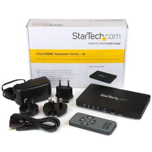 StarTech.com Switch Commutatore automatico a 4 porte HDMI con Case in alluminio e supporto MHL - 4k 30Hz commutatore video - 3