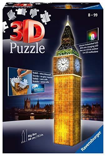 Ravensburger-12588 Big Ben Puzzle 3D Edizione Speciale Notte, 216 Pezzi, 12 588 3