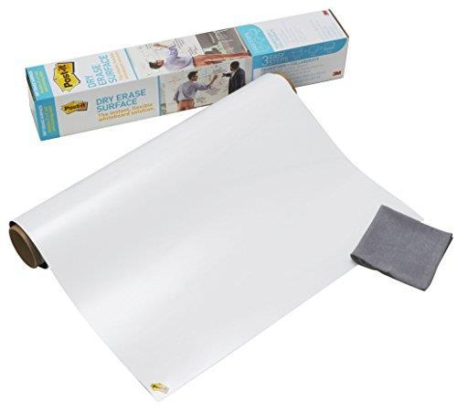 Post-it, Lavagna Cancellabile Post-it Super Sticky in Rotolo, Lavagna Adesiva da Parete, Colore Bianco,121.9 X 243.8 Cm