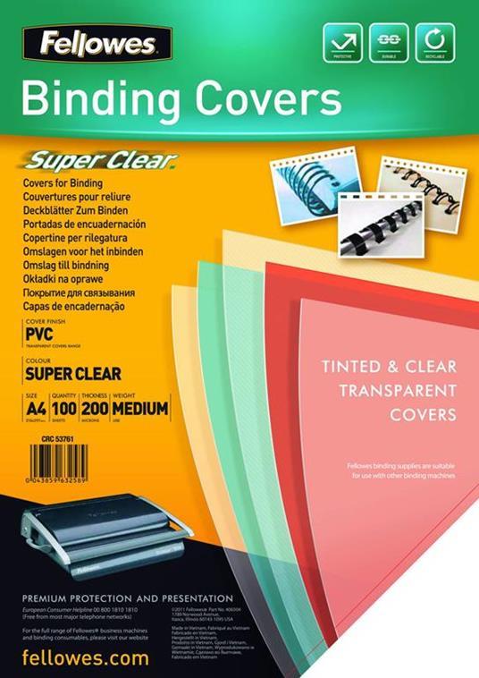 Fellowes 5376102 cartellina A4 PVC Trasparente 100 pezzo(i)