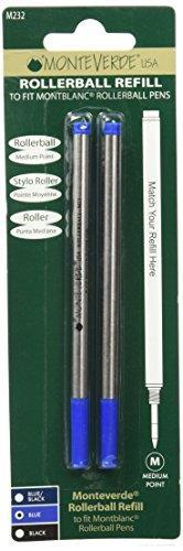 Monteverde J232303 Blister 2 Refill per Penna Roller Montblanc, blu, 2 Pezzi