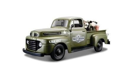 Ford F1 Pick-Up 1948 + Harley Davidson WLA Flathead 1:24 Model BALMI32185