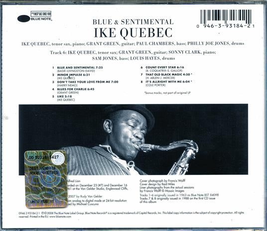 Blue and Sentimental (Rudy Van Gelder) - CD Audio di Ike Quebec - 2
