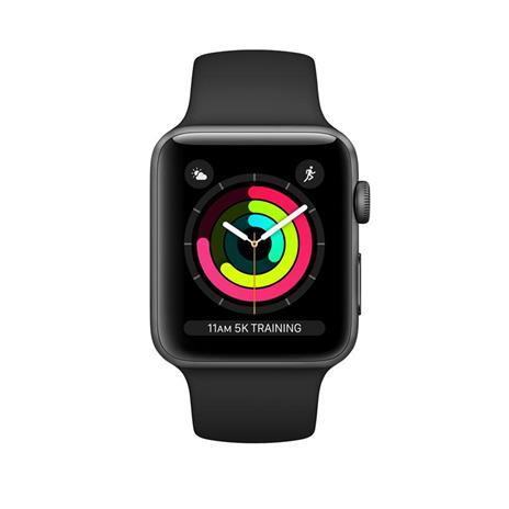 Apple Watch Series 3 GPS, 38mm in alluminio grigio siderale con cinturino Sport Nero - 2