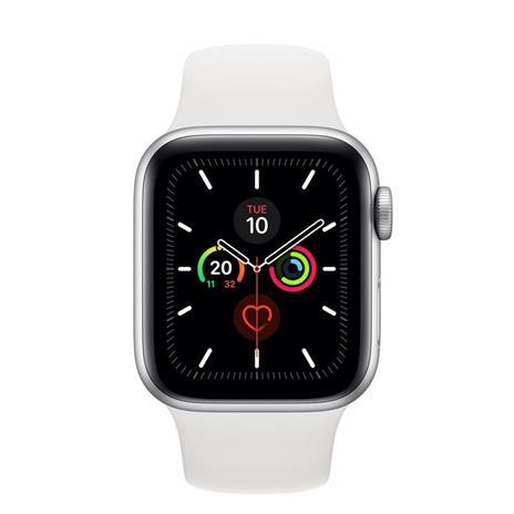 Apple Watch Series 5 GPS + Cellular, 40mm in alluminio argento con cinturino Sport Bianco