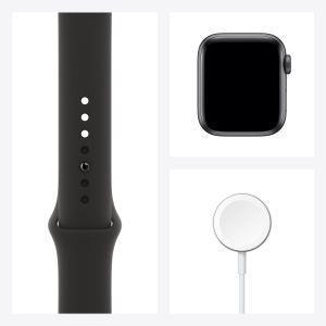 Apple Watch SE GPS, 40mm in alluminio grigio siderale con cinturino Sport Nero - 5