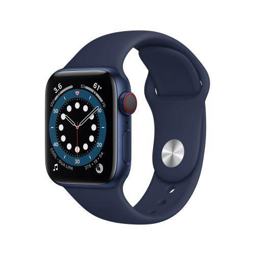 Apple Watch Serie 6 GPS + Cellular, 40mm in alluminio azzurro con cinturino Sport Deep navy