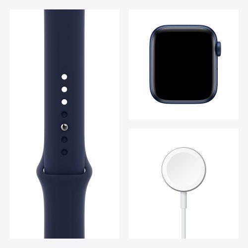 Apple Watch Serie 6 GPS + Cellular, 40mm in alluminio azzurro con cinturino Sport Deep navy - 4