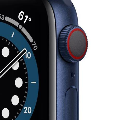 Apple Watch Serie 6 GPS + Cellular, 40mm in alluminio azzurro con cinturino Sport Deep navy - 6