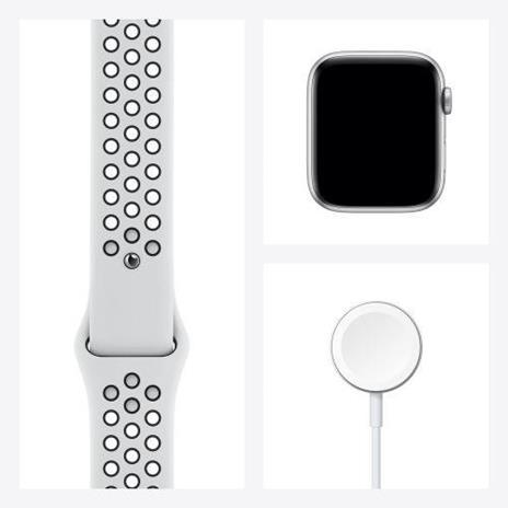 Apple Watch Nike Series 6 GPS + Cellular, 44mm in alluminio argento con cinturino Sport Nike Platino/Nero - 2