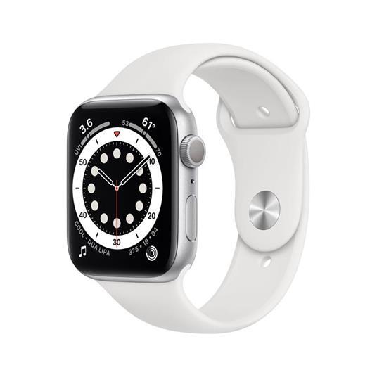 Apple Watch Serie 6 GPS, 40mm in alluminio argento con cinturino Sport Bianco