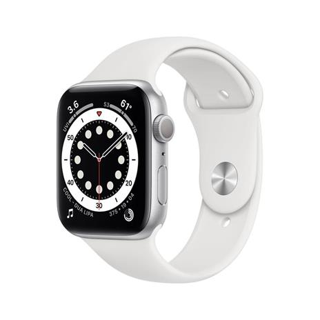 Apple Watch Serie 6 GPS, 44mm in alluminio argento con cinturino Sport Bianco