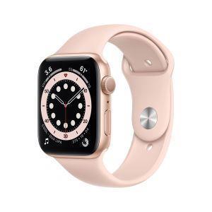 Apple Watch Serie 6 GPS, 44mm in alluminio oro con cinturino Sport Rosa sabbia