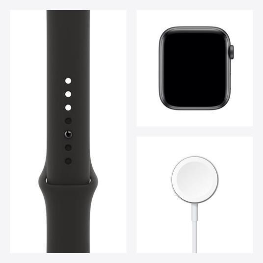 Apple Watch Serie 6 GPS, 44mm in alluminio grigio siderale con cinturino Sport Nero - 4