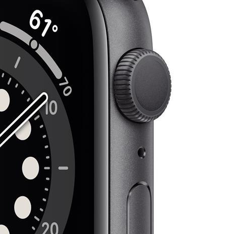 Apple Watch Serie 6 GPS, 44mm in alluminio grigio siderale con cinturino Sport Nero - 6