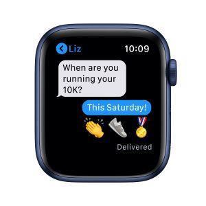 Apple Watch Serie 6 GPS, 44mm in alluminio azzurro con cinturino Sport Deep navy - 2