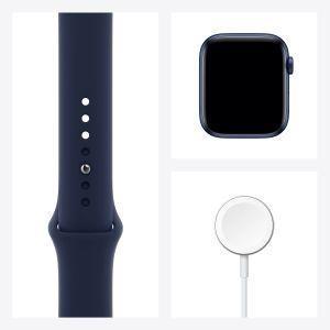 Apple Watch Serie 6 GPS, 44mm in alluminio azzurro con cinturino Sport Deep navy - 4