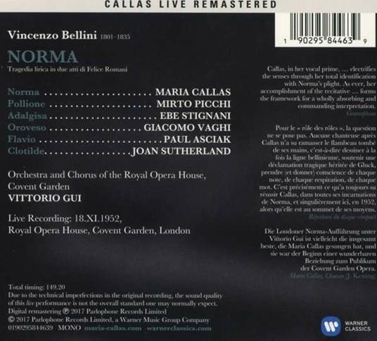 Norma. Londra 18 novembre 1952 (Callas Live Remastered) - CD Audio di Vincenzo Bellini,Maria Callas,Mirto Picchi,Vittorio Gui - 2